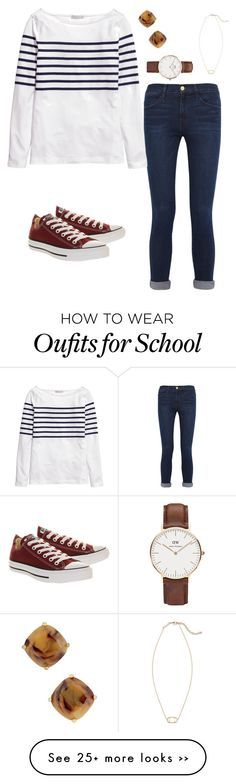 """School"" by brooklynntaylor on Polyvore featuring Frame Denim, H&M, Converse, Kate Spade, Daniel Wellington and Kendra Scott"