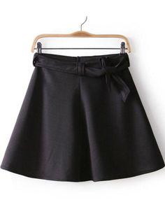 Black Belt Flare A-line Short Skirt US$19.25