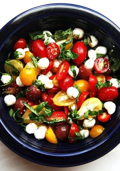 Tomato Basil Mozzarella Salad: 2 cups cherry tomatoes; 20 basil leaves; 1 cup small fresh mozzarella balls;3 tablespoons good olive oil, Kosher salt, freshly ground black pepper