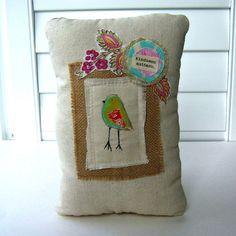 painted bird pillow appliqued bird pillow word от tracyBdesigns