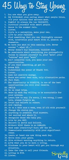 45 Ways to Stay Young