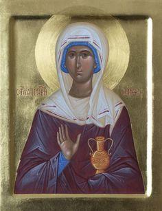 Icon of Saint Martha, catalog of St Elisabeth Convent. Saint Martha, Hand Carved, Hand Painted, St Agnes, Best Icons, Byzantine Icons, Religious Icons, Orthodox Icons, Art History