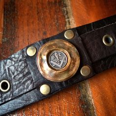 Reserved for Bones H. Antique Freemason Pin on Bison Leather Cuff