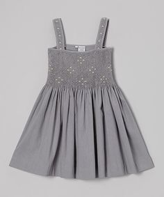 Take a look at this Gray Smocked Babydoll Dress - Toddler & Girls on zulily today!