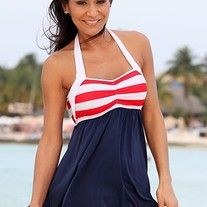 UjENA Sailor Girl Swim Dress This swim dress is a must have for your next vacation. This patriotic pin-up style swimsuit is super flattering on all body types and will be a favorite to add to your collection. Thicker halter straps and a elastic bustl Monokini Swimsuits, Bikinis, Tankini, Women's Swimwear, Maternity Swimsuit, Plus Size Swim, Red Swimsuit, Girls Swimming, Cute Summer Dresses