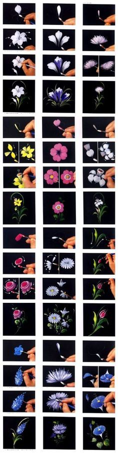Love this!! 12 excellent ways to hand paint flowers