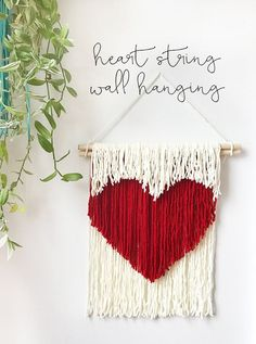 DIY Heart String Wall Hanging - The Sweet Escape Creative Studio - Make your own valentine or home decor art with this simple but unique heart string wall hanging that - Macrame Wall Hanging Diy, Macrame Art, Macrame Projects, Creative Studio, Creative Decor, Yarn Wall Art, Valentines Art, Ideias Diy, Heart Wall