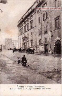 Piazza Frescobaldi nel 1910, viaggiata, Quelle carrozze aspettavano i funzionari del Ministero della Guerra.#Firenze.