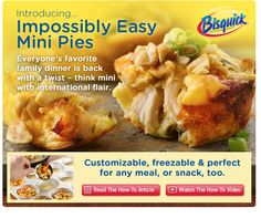Chicken Pot Pie, Cheeseburger, Crab Cake, Breakfast Sausage..etc Loads of mini pie recipes for different uses!