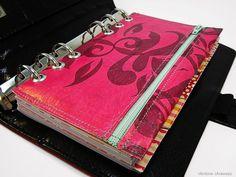 Filofax Personal Tasche Kalender Stiftetasche Zubehörtasche Pink upcycling