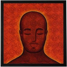 Gloria Rothrock Mind Circles Floater-Framed Gallery-Wrapped Canvas, Size: 14 x 14, Red