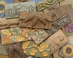 Handmade Ceramic Tiles, Animal, Pinecone, Flower and Leaf Motifs by Terry Tiles