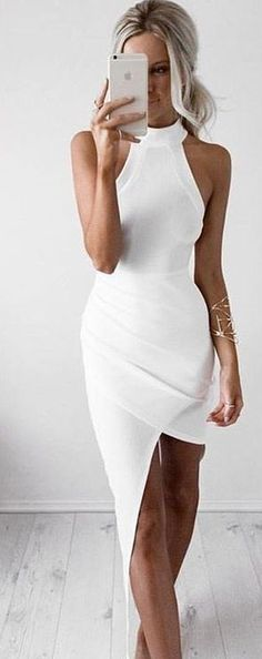 Asymmetrical Little White Dress                                                                             Source