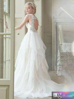 Gorgeous Tulle & Satin A-line V-neck Raised Waistline Beaded Wedding Dress - Luxury Dresses - Wedding Dresses - Wedding & Events
