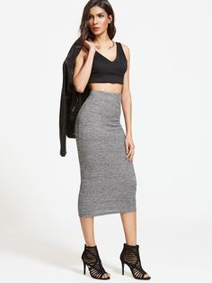 Shop Heather Grey Ribbed Knit Pencil Skirt online. SheIn offers Heather Grey Ribbed Knit Pencil Skirt & more to fit your fashionable needs.