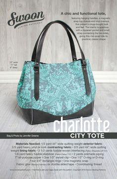 All patterns 15% off A stylish chic tote featuring hanging handles, a magnetic snap top closure, and vinyl overlays that present a store-bought look and feel. The interior is spacious with a zippered