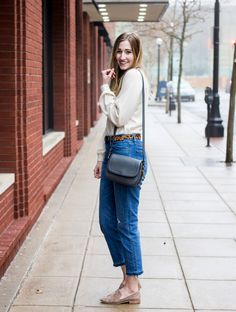 Knit top under $30 that you'll wear EVERYWHERE | Gap softspun top with blouson sleeves and funnelneck | everyday knit top | winter outfit idea | j. crew signet bag