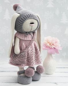 No automatic alt text available. Knitted Bunnies, Knitted Dolls, Crochet Dolls, Crochet Doll Pattern, Crochet Toys Patterns, Stuffed Toys Patterns, Crochet Rabbit, Cute Crochet, Bunny And Bear