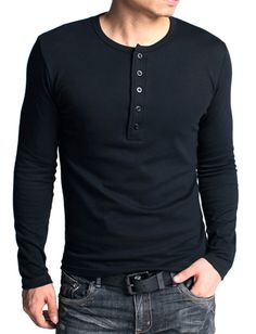Men Kuegou Slim Fitted Long Sleeve Thick Henley T-Shirt | Item Code 681342 at M.EastClothes.com