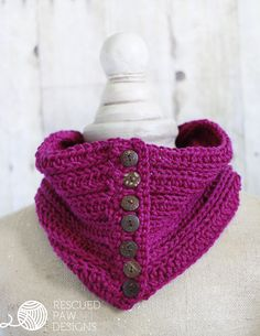 Penn Button Cowl - Free Crochet Pattern by Rescued Paw Designs All Free Crochet, Easy Crochet Patterns, Crochet Patterns For Beginners, Cowl Patterns, Simple Crochet, Crochet Ideas, Quick Crochet, Knitting Tutorials, Knitting Projects