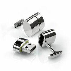 Polished Oval WiFi / 4GB USB Cufflinks