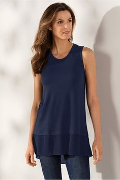 Give summer the bare shoulder in style. Our knit tank is lightweight, boldly?seamed and drapes like a dream. The high-low hem has a crinkle-woven trim for? Misses long. Womens Sleeveless Tops, Sleeveless Tunic, Casablanca Dress, Tall Clothing, Caftan Dress, Soft Surroundings, Tunic Tops, Clothes For Women, Fall Clothes