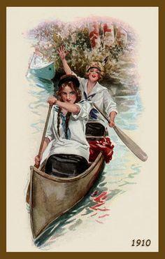 Bristol Steel Fishing Rods Lady Man Canoe ad Vintage poster art