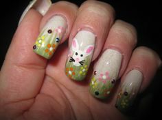 Easter Bunny Nails, Hand-Painted, Easter Nail Art, Easter Nail Designs #2014 #easter #bunny #nails www.loveitsomuch.com