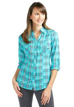 Cato Fashions Roll Tab Plaid Shirt - Plus #CatoFashions