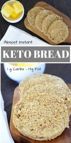 Almost Instant Keto Bread – 90 Second Bread | 1 Tbsp Coconut Flour 1/4 Cup Almond Flour 1 Tbsp Coconut Oil 1/4 Tsp baking powder 1 Egg INSTRUCTIONS Place all the ingredients into a mug. Mix until combined with a fork. Microwave for 90 seconds. Cut and enjoy.