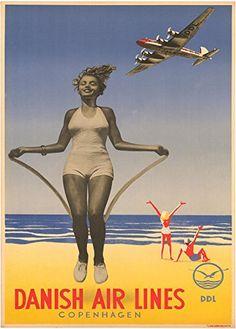 Danish Air Lines - Copenhague - 1938 - Vintage Travel Posters, Vintage Ads, Vintage Airline, Vintage London, Poster Prints, Art Prints, Beach Print, Old Ads, Cool Posters