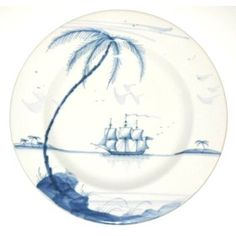 """Isis Blue Nautical - The Abundance - Dinner Plate - Plate is beautifully hand painted in """"The Abundance"""" scene, contained within Isis Ceramics' Nautical pattern. Diameter: 11 inches"""