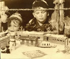 2 Boys and Store Front Christmas Display by depthandtime, via Flickr