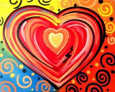 valentine canvas painting ideas | First of 2 painting workshops celebrating Valentine's Day. This ...