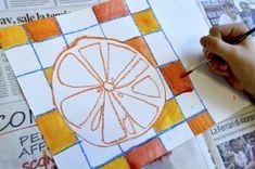 Citrus fruits in complementary colors Classroom Art Projects, School Art Projects, Art Classroom, Painting Activities, Art Activities For Kids, Art For Kids, Preschool Activities, Elements And Principles, Elements Of Art