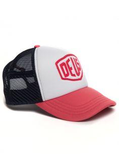 DEUS Trucker cap Raised Shield - navy white Deus Ex Machina, Trailers For Sale, Trailer Sales, Mens Caps, Dad Hats, Kansas City, Navy And White, Cape, Cabo