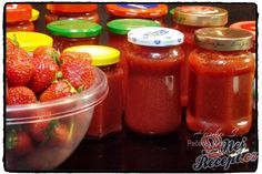 Home Canning, Salsa, Spices, Strawberry, Food And Drink, Smoothie, Jar, Homemade, Fruit