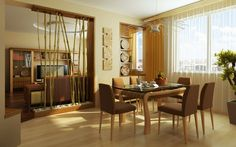 Dining Room Inspiration. Favorite Dining Room Decor For Dreaming Home Design: Magnificent Small Dining Room Decor With Bamboos Divider Room As Well As Brown Fabric Upholstered Dining Chairs And Cube Table With Modern Furnishing Dining Room Ideas