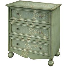 I could get a similar look with paint and a stencil - Caroline Chest in Green from the Coast to Coast Imports