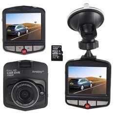 Amebay Dash Cam 2.4'' FHD 1080P Car Vehicle Dashboard DVR Camera Video Recorder with 16GB Micro SD Card,Black