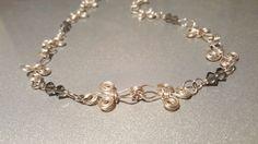 Fleur de lis necklace. Handmade Sterling Silver ladies choker Necklace  swarovski black diamond elements hand wrapped.
