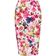 Louche Floral Print Skirt, Pink featuring polyvore, fashion, clothing, skirts, high waist knee length pencil skirt, cotton pencil skirt, high waisted skirts, cotton skirt and summer skirts
