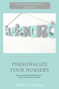 Add a little personality to your newborn nursery with this cute mint green and soft gray name sign with cute elephant detail.  Custom decorated for your nursery. #nurseryinspo #babyroom #babyboynursery #safarinursery #namesign #nurseryletters #newmomgift