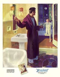 1925 Andrew Loomis ad for Standard Plumbing. Colored fixtures were still a few years in the future