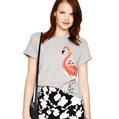 "💥 1 HOUR SALE💥🎉HOST PICK🎉KS flamingo tee. NWT. This tee screams summer! I love it! An adorable flamingo on the side, ""strut your stuff"" near it. 100% cotton, crew neck. Will post actual pics of the shirt. Can be worn with shorts, skirt or jeans! Easy fit. Never worn and new with tags. SOLD OUT in stores. ONLY SMALL AVAILABLE! kate spade Tops Tees - Short Sleeve"