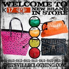 Did you see the amazing bags from K17 Distribution? They are all in stock at www.shitsvilleclothing.com/bags