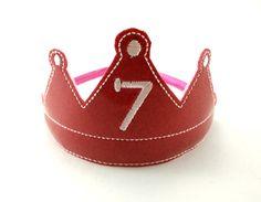 Birthday Headband Tiara Hot Pink Glitter by ShopOrangeBlossoms #handmade #tbec #florida #crown #kids accessories #costume
