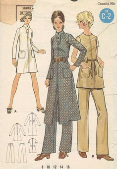 Butterick vintage pattern # from either the late or early Cut/complete, includes instructions, envelope is in fair - torn - shape. Suit Pattern, Retro Pattern, Vintage Sewing Patterns, Fashion Sewing, Boho Fashion, Vintage Fashion, 1970s Dresses, Vintage Pants, Coat Patterns