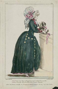1787 Jeune Dame vetue d'une rodingotte boutonnée jusqu'en bas avec des boutons a la mode: elle est coeffée d'un bonnet-chapeau.
