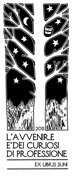 Tree Owl Stars Moon Ex Libris